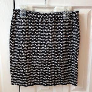 Loft Black and White Patterned Skirt